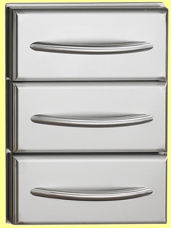 Edelstahl Einbau 3er-Schublade  N370-0360