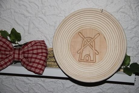 Gärkorb rund aus Peddigrohr -mit Bodenmuster Mühle- für Brote bis 1kg (V 200.217)